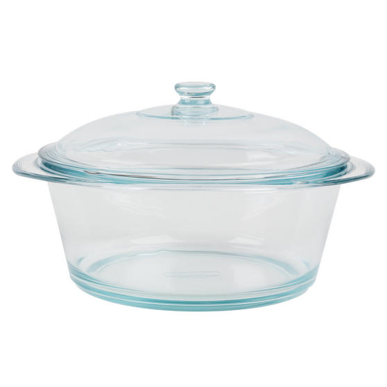 Pyrex 556A000T443 Round Casserole Dish With Lid, 3.5 L, Clear Glass, 20 Year Guarantee