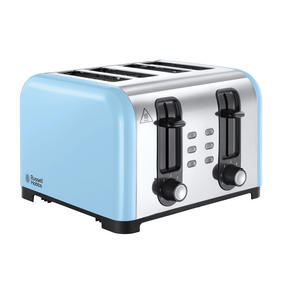 Russell Hobbs 23547 Oslo Four Slice Toaster, Stainless Steel/Blue
