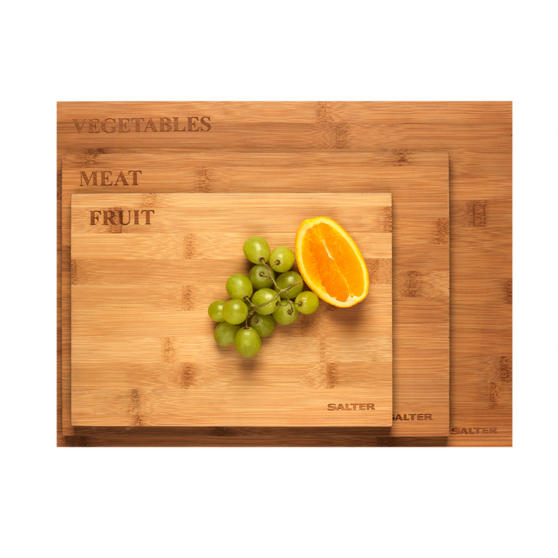 Salter Three Piece Bamboo Chopping Board Set, Coloured Rims, Five Year Guarantee
