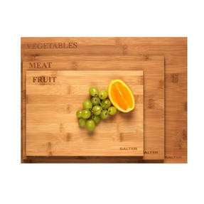 Salter BW07281 Three Piece Bamboo Chopping Board Set, Coloured Rims, Five Year Guarantee