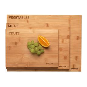 Salter Three Piece Bamboo Chopping Board Set, Coloured Rims, Five Year Guarantee Thumbnail 4