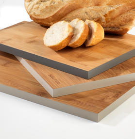 Salter Three Piece Bamboo Chopping Board Set, Coloured Rims, Five Year Guarantee Thumbnail 5