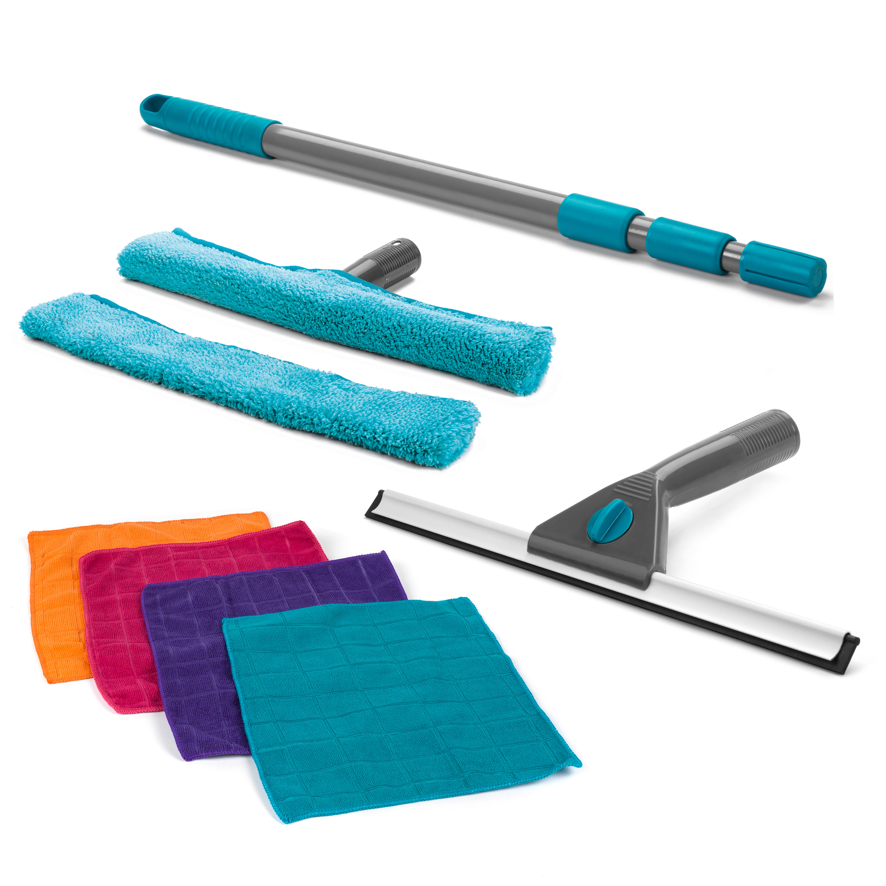 Beldray Combo 3392 Microfibre Large Window Cleaning Set With Duster Cloths 9 Piece