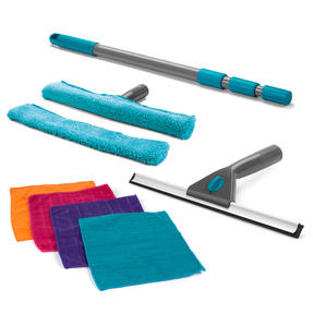 Beldray COMBO-3392 Microfibre Large Window Cleaning Set with Microfibre Cleaning Duster Cloths, 9 Piece Set