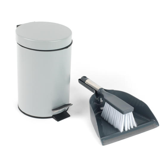 Beldray Dustpan and Brush with Stainless Steel Round Pedal Waste Bin Thumbnail 1