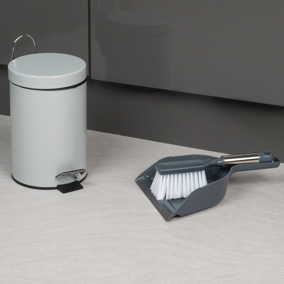Beldray Dustpan and Brush with Stainless Steel Round Pedal Waste Bin Thumbnail 2