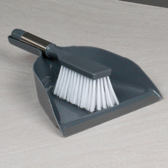 Beldray Dustpan and Brush with Stainless Steel Round Pedal Waste Bin Thumbnail 3