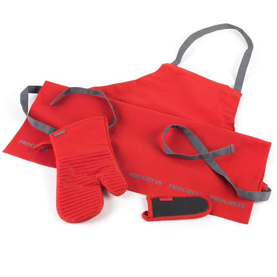 Progress COMBO-2072 Professional Kitchen Set with Oven Gauntlet, Neoprene Pan Handle Sleeve and Apron, Red