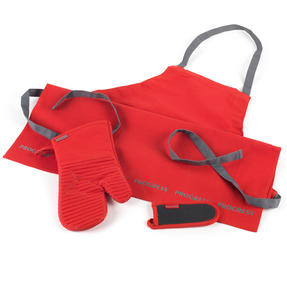 Progress COMBO-2072 Professional Kitchen Set with Oven Gauntlet, Neoprene Pan Handle Sleeve and Apron, Red Thumbnail 1