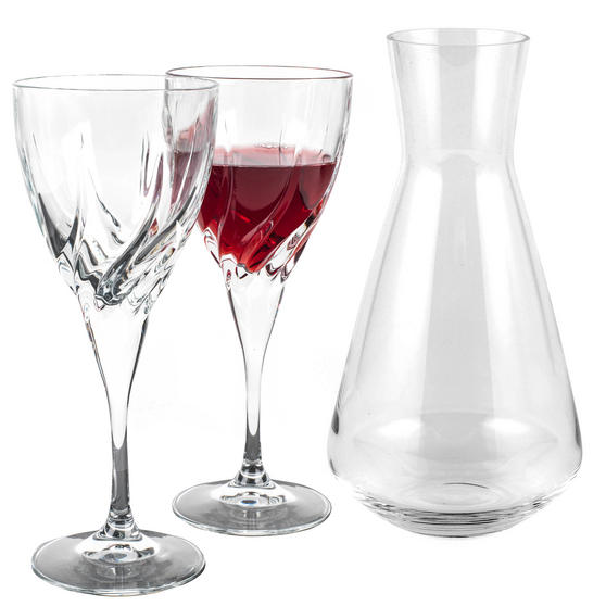 RCR COMBO-3429 Armonia Crystal Wine 1.8 Litre Carafe with Two Twist Wine Glasses