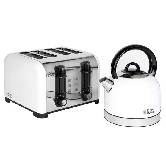 Russell Hobbs COMBO-3388 Oslo Traditional Kettle and Four Slice Toaster Breakfast Set, White