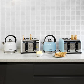 Russell Hobbs COMBO-3388 Oslo Traditional Kettle and Four Slice Toaster Breakfast Set, White Thumbnail 3