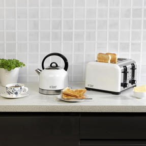 Russell Hobbs COMBO-3388 Oslo Traditional Kettle and Four Slice Toaster Breakfast Set, White Thumbnail 6
