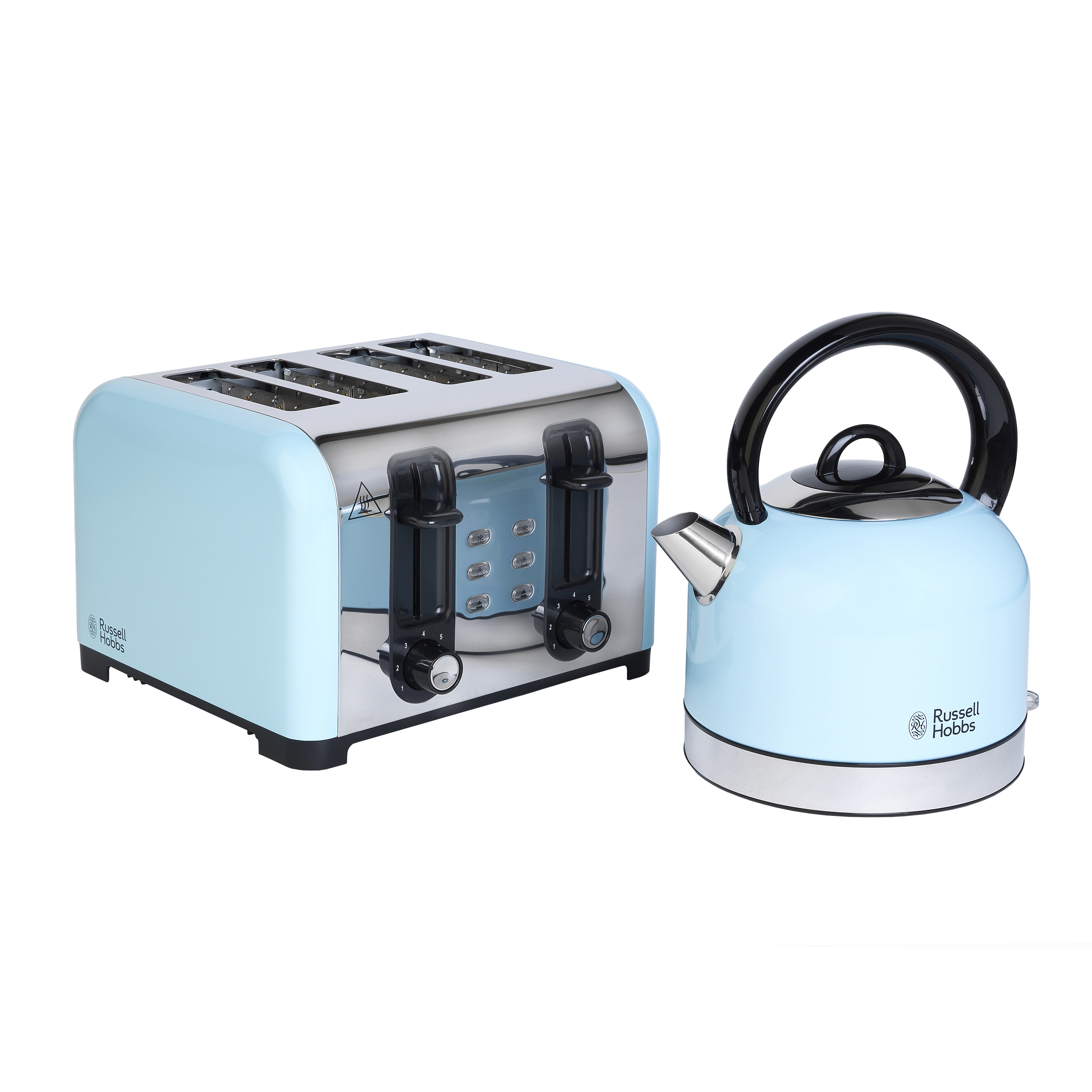 Rus Hobbs Combo 3389 Oslo Traditional Kettle And Four Slice Toaster Breakfast Set Blue