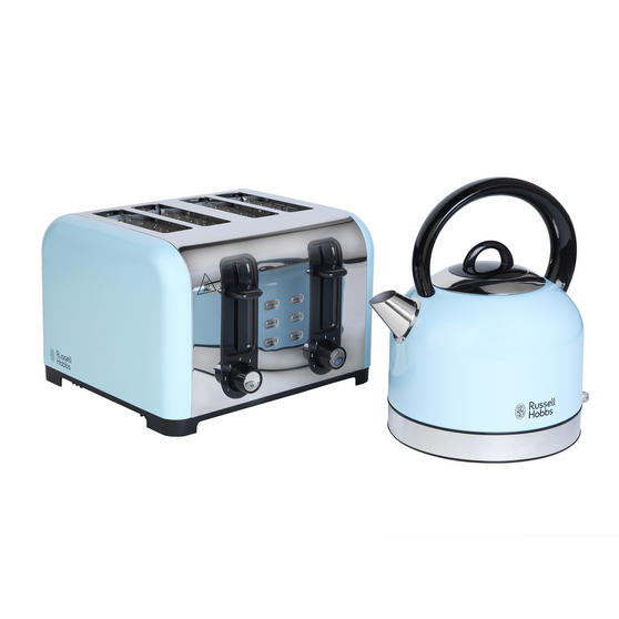 Russell Hobbs COMBO-3389 Oslo Traditional Kettle and Four Slice Toaster Breakfast Set, Blue