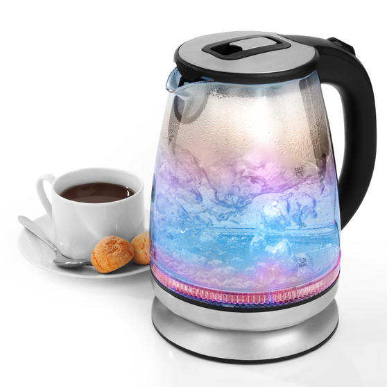 Salter EK2841IR Iridescent Glass Kettle with Blue to Red Illumination, 1.7 L, 2200 W, Stainless Steel Accents