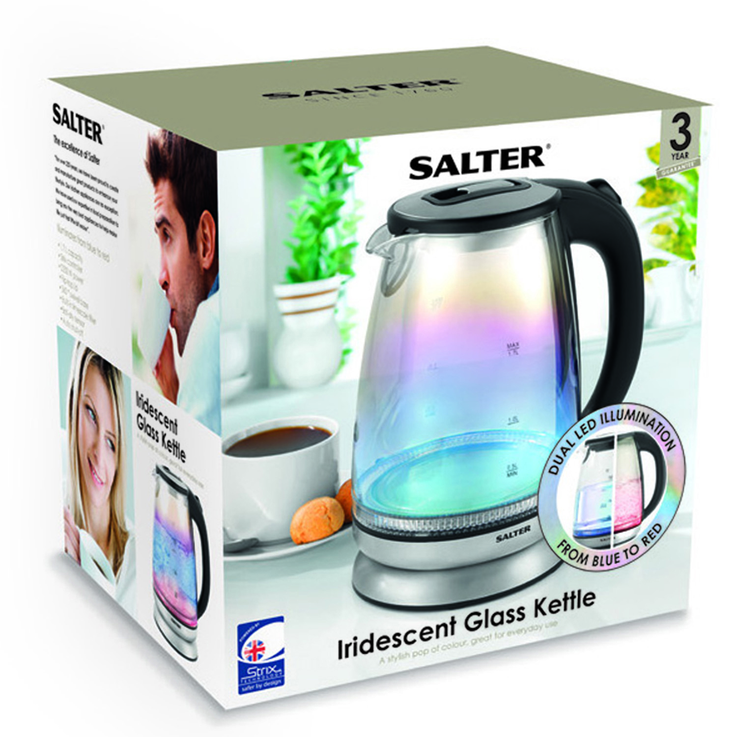 Salter EK2841IR Iridescent Glass Kettle with Blue to Red Illumination, 1.7 L, 2200 W, Stainless Steel Accents Thumbnail 8