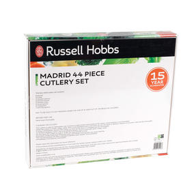 Russell Hobbs RH00360 Madrid 44 Piece Cutlery Set, Stainless Steel, 15 Year Guarantee Thumbnail 3
