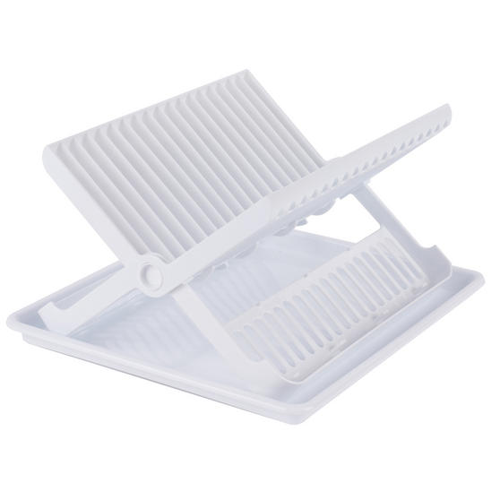 Beldray Folding Dish Drainer with Tray, 37 x 33 x 21 cm, White Thumbnail 1