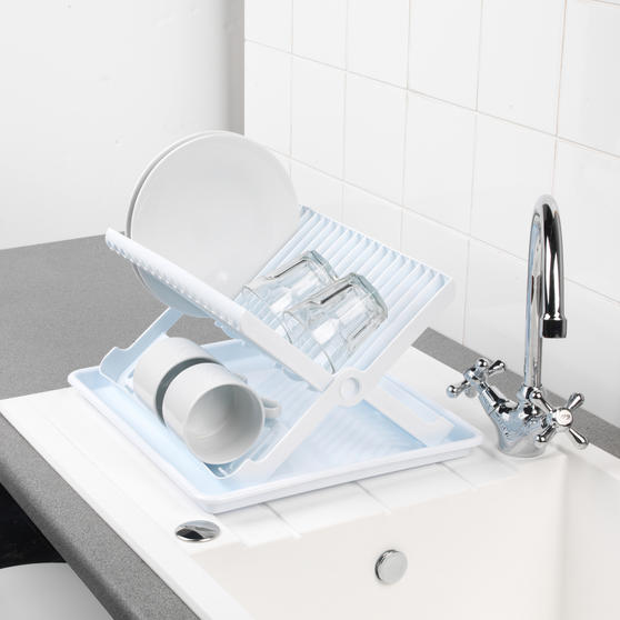 Beldray Folding Dish Drainer with Tray, 37 x 33 x 21 cm, White Thumbnail 4
