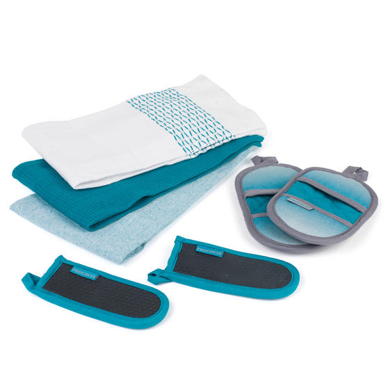 Progress Ombre Micromitts, Tea Towels and Neoprene Heat Resistant Pan Handle Covers, Teal