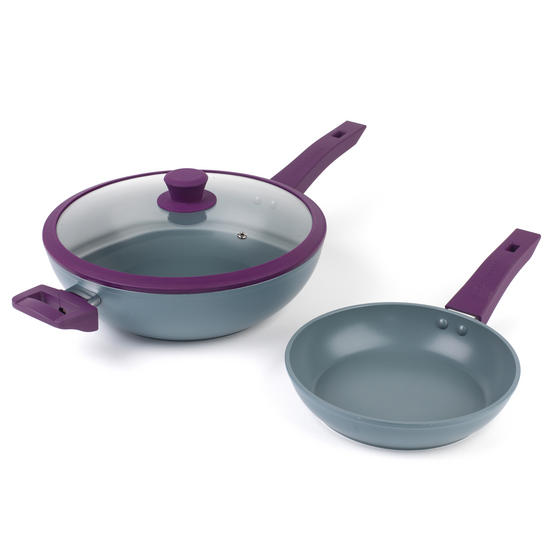 Progress Forged Aluminium Non-Stick Wok and Frying Pan, 28 cm/20 cm, Purple