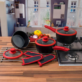 Progress COMBO-3304 3 Piece Forged Saucepan Set with Neoprene Pan Handle Sleeve Covers, Red Thumbnail 2