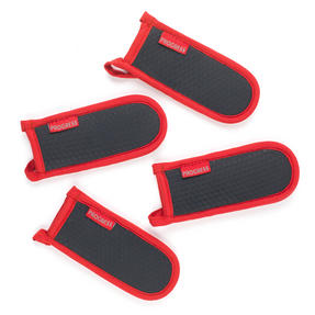 Progress Set of 4 Neoprene Pan Handle Sleeve Covers, Red