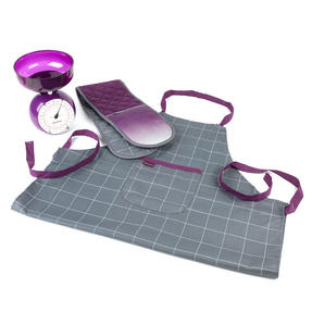 Progress COMBO-3311 Performance Ombre Chef Apron and Double Oven Baking Glove with 5 kg Kitchen Scales, Purple Thumbnail 1