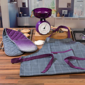 Progress COMBO-3311 Performance Ombre Chef Apron and Double Oven Baking Glove with 5 kg Kitchen Scales, Purple Thumbnail 2