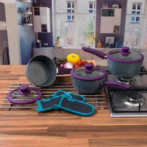 Progress COMBO-3363 3 Piece Purple Forged Saucepan Set with Neoprene Teal Pan Handle Sleeve Covers Thumbnail 2