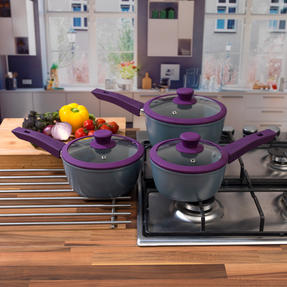 Progress COMBO-3363 3 Piece Purple Forged Saucepan Set with Neoprene Teal Pan Handle Sleeve Covers Thumbnail 5
