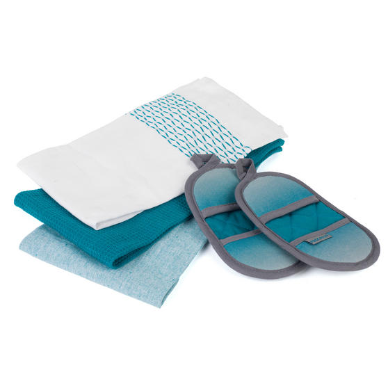 Progress COMBO-3364 Ombre Microwave Mitts with Three Practical Tea Towels, Teal