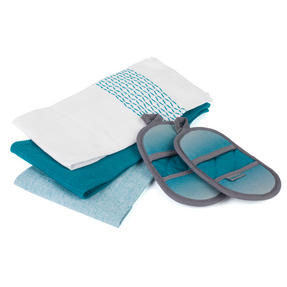 Progress COMBO-3364 Ombre Microwave Mitts with Three Practical Tea Towels, Teal Thumbnail 1