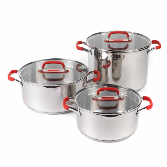 Pyrex COMBO-3400 Passion Casserole Dishes and Stockpot with Lids, 3 Piece Set, Stainless Steel