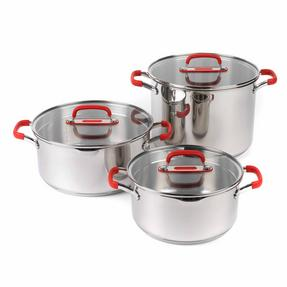 Pyrex COMBO-3400 Passion Casserole Dishes and Stockpot with Lids, 3 Piece Set, Stainless Steel Thumbnail 1
