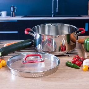 Pyrex COMBO-3400 Passion Casserole Dishes and Stockpot with Lids, 3 Piece Set, Stainless Steel Thumbnail 4