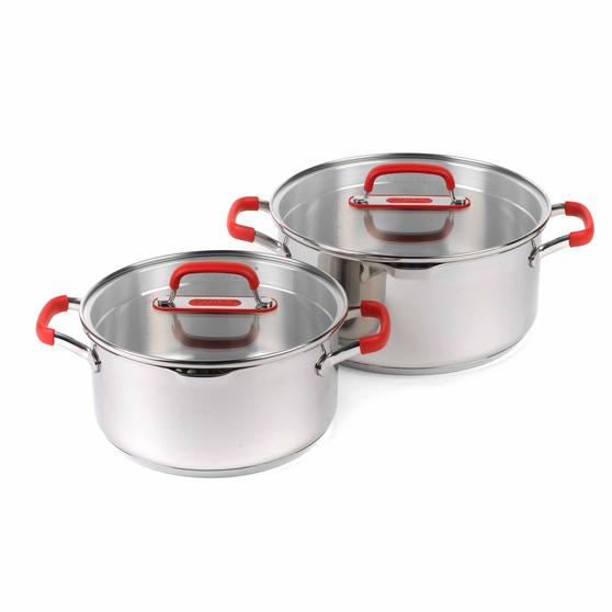 Pyrex COMBO-3401 Passion Stainless Steel Casserole Dishes with Lids, 20/24 cm