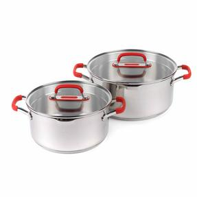 Pyrex COMBO-3401 Passion Stainless Steel Casserole Dishes with Lids, 20/24 cm Thumbnail 1
