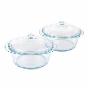 Pyrex COMBO-3402 Round 3.5 L Casserole Dishes With Lids, Set of 2, Clear Glass Thumbnail 1