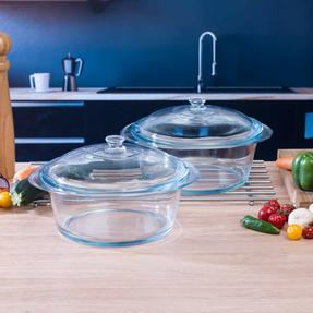 Pyrex COMBO-3402 Round 3.5 L Casserole Dishes With Lids, Set of 2, Clear Glass Thumbnail 2