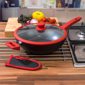 Progress COMBO-3306 Forged 28 cm Stir Fry Wok with Neoprene Pan Handle Sleeve Cover, Red Thumbnail 2