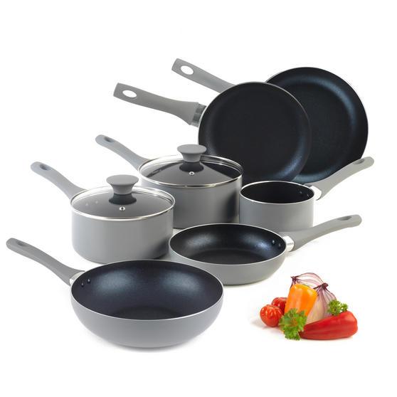Salter COMBO-3478 Crystalstone 7-Piece Non-Stick Saucepan, Milk Pan, Frying Pan and Wok Set ? Grey