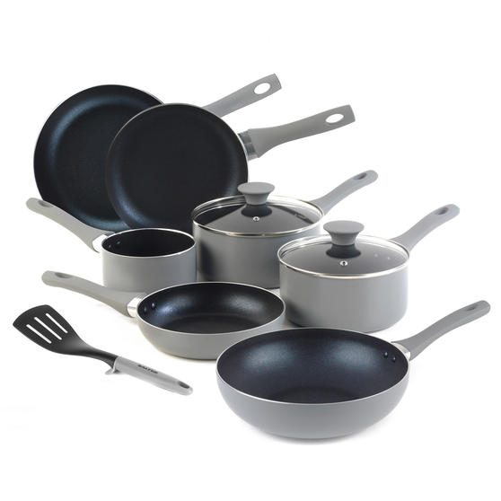 Salter COMBO-3095 3-Piece Crystalstone Non-Stick 20 / 24 / 28 cm Frying Pan Set with Nylon Slotted Spatula, Grey