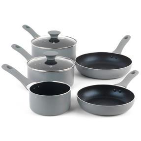 Salter COMBO-3478 Crystalstone 7-Piece Non-Stick Saucepan, Milk Pan, Frying Pan and Wok Set ? Grey Thumbnail 2