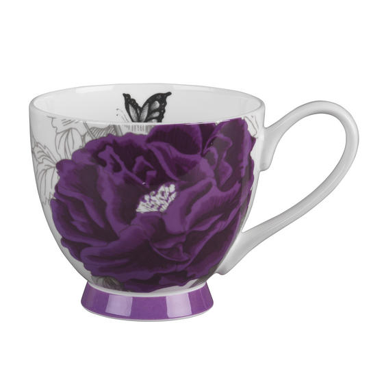 Portobello KB246615 Sandringham Peony Purple Bone China Mugs, Set of 2