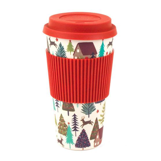 Cambridge CM06201DU Large Winter Forest Travel Mug, Bamboo, 20 oz