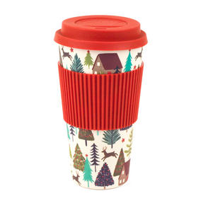 Cambridge CM06201DU Large Winter Forest Travel Mug, Bamboo, 20 oz Thumbnail 1