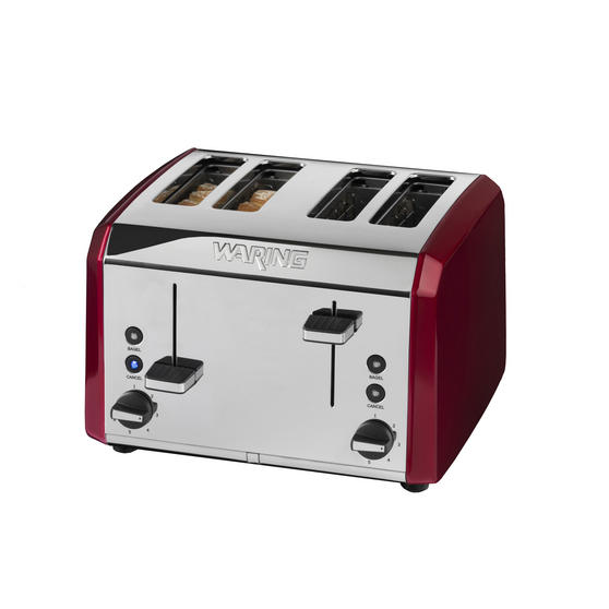 Waring WT400RU Four Slice Toaster,  2000 W, Stainless Steel, Red