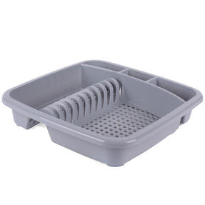 Beldray LA057358GREYEU Plastic Dish Drainer with Cutlery Rack, Grey Thumbnail 1